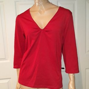 Casual Pullover Red V neck Shirt  Size 16 / 18W